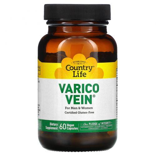 Country Life, VaricoVein, для мужчин и женщин, 60 вегетарианских капсул