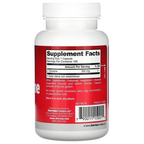 Jarrow Formulas, L-тирозин (L-Tyrosine), 500 мг, 100 капсул