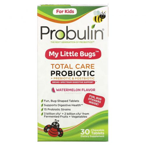 Probulin, For Kids, My Little Bugs, Total Care Probiotic + Prebiotic & Postbiotic, Watermelon , 30 Chewable Tablets