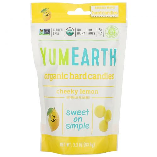 YumEarth, Органические лимонные драже, Cheeky Lemon, 3.3 oz (93.5 g)