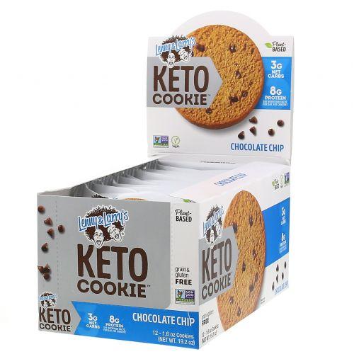 Lenny & Larry's, Keto Cookies, печенье для кетодиеты, с кусочками шоколада, 12шт. по 45г (1,6унции)