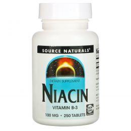 Source Naturals, Никотиновая кислота, 100 мг, 250 таблеток