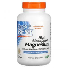 Doctor's Best, Легкоусвояемый магний, 100% хелатно связанный с минералами Albion, 100 мг, 240 таблеток