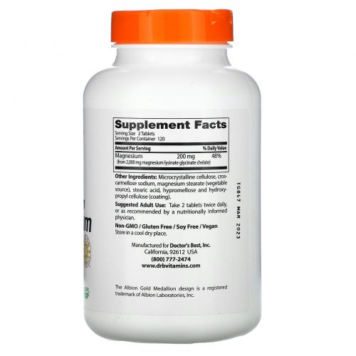 Doctor's Best, High Absorption Magnesium, 100% Chelated with TRAACS, 240 Tablets