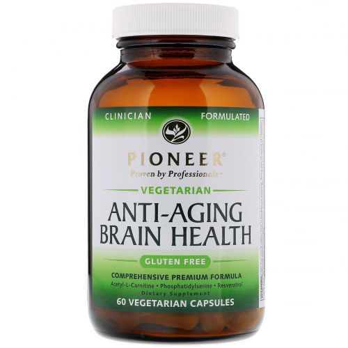Pioneer Nutritional Formulas, Антивозрастная поддержка мдля мозга, 60 растительных капсул