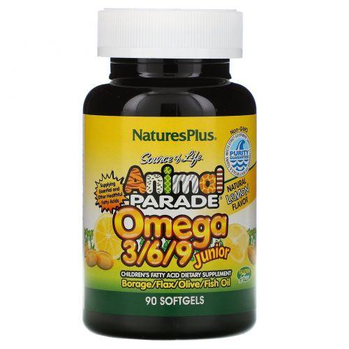 Nature's Plus, Источник жизни, Парад животных, Омега 3/6/9 для детей, Натуральный лимонный вкус, 90 желатиновых капсул