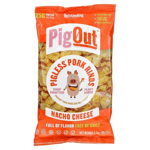 Pigout, Pigless Pork Rinds, Nacho Cheese, 3.5 oz (99.22 g)