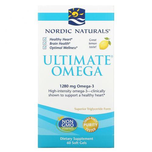 Nordic Naturals, Ultimate Omega, со вкусом лимона, 1280 мг, 60 мягких желатиновых капсул