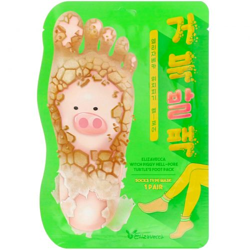 Elizavecca, Witch Piggy, Hell-Pore, отшелушивающая маска-носочки для ног, 1пара, 40г (1,41унции)