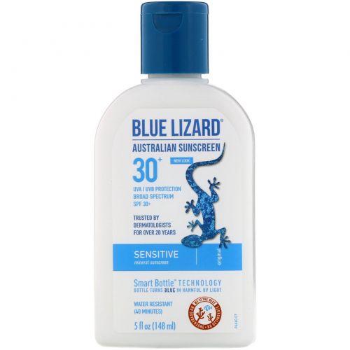 Blue Lizard Australian Sunscreen, Солнцезащитное средство для чувствительной кожи, SPF 30+, без запаха, 5 жидких унций (148 мл)