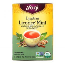 Yogi Tea, Египетская лакрица и мята, без кофеина, 16 чайных пакетиков, 1,12 унции (32 г)