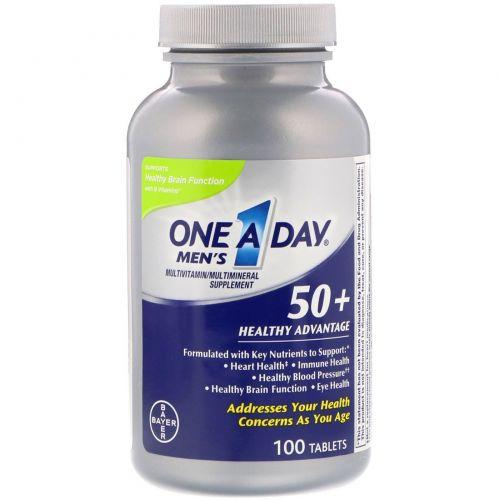 One-A-Day,  Для мужчин 50+, польза для здоровья, мультивитаминная/мультиминеральная добавка, 100 таблеток