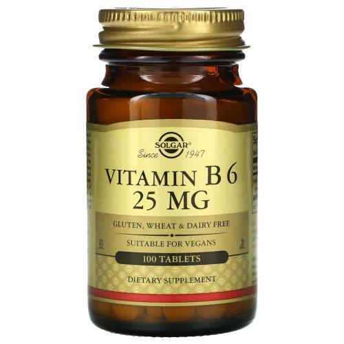 Solgar, Витамин B6, 25 мг, 100 таблеток