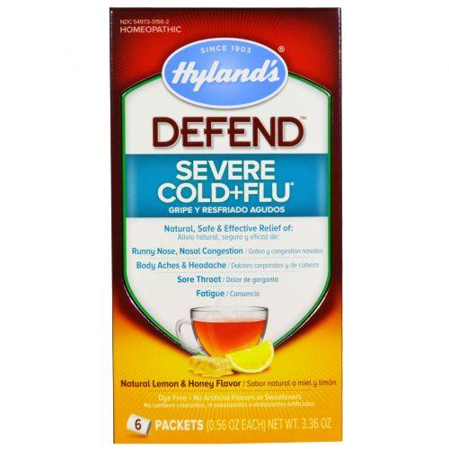 Hyland's, Защита, простуда + грипп, вкус натурального лимона и меда, 6 пакетиков, 0,56 унций Каждый