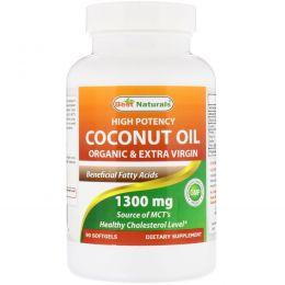 Best Naturals, High Potency Coconut Oil, Organic & Extra Virgin, 1300 mg, 90 Softgels