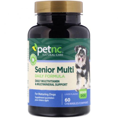 21st Century, Натуральный уход за домашними животными, многодневная формула для взрослых собак, для взрослых собак, со вкусом печенки, 60 жевательных таблеток