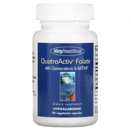 Allergy Research Group, QuatreActiv фтолат 4-го поколения 5–МТГФ, 90 капсул