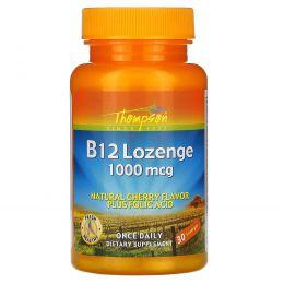 Thompson, B12 таблетки для рассасывания, натуральный аромат вишни, 1000 мкг, 30 таблеток для рассасывания