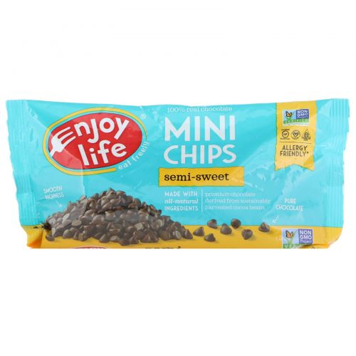 Enjoy Life Foods, Мини-капли, полугорький шоколад, 283 г