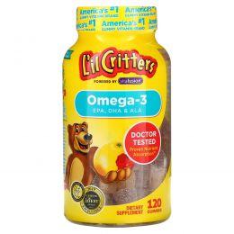 L'il Critters, Омега-3, натуральный вкус малины и лимонaда, 120 жевательных таблеток