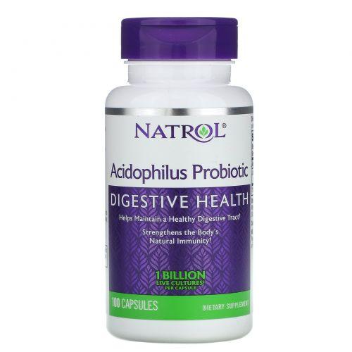 Natrol, Пробиотик ацидофилус, 100 капсул