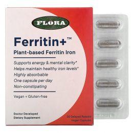 Flora, Ferritin+, Plant-Based Ferritin Iron, 30 Delayed Release Vegan Capsules