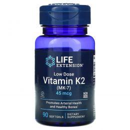 Life Extension, Витамин К2 (МК-7) в низкой дозировке, 45 мкг, 90 мягких желатиновых капсул
