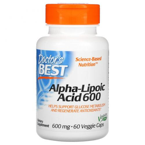 Doctor's Best, Альфа-липоевая кислота (Best Alpha-Lipoic Acid), 600 мг, 60 растительных капсул