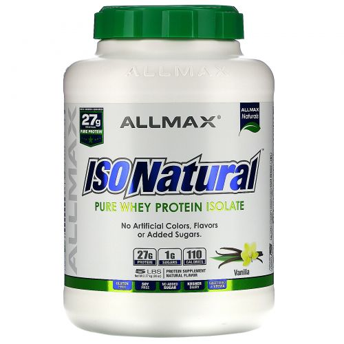 ALLMAX Nutrition, IsoNatural, 100% Ultra-Pure Natural Whey Protein Isolate (WPI90), Vanilla, 5 lbs (2.27 kg)