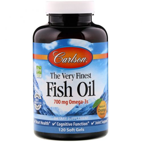 Carlson Labs, The Very Finest Fish Oil, Natural Orange Flavor, 120 Soft Gels