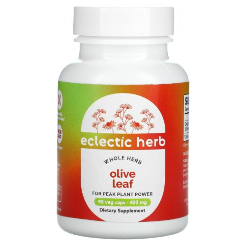 Eclectic Institute, Лист оливы, 400 мг, 90 растительных капсул без ГМО