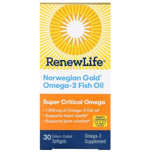 Renew Life, Norwegian Gold, Рыбий Жир, Супер Необходимые Омега 30 гелевых капсул
