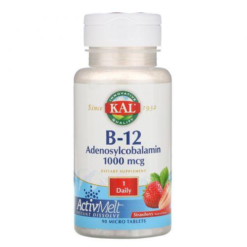 KAL, B-12 Adenosylcobalamin, Stawberry, 1000 mcg, 90 Micro Tablets
