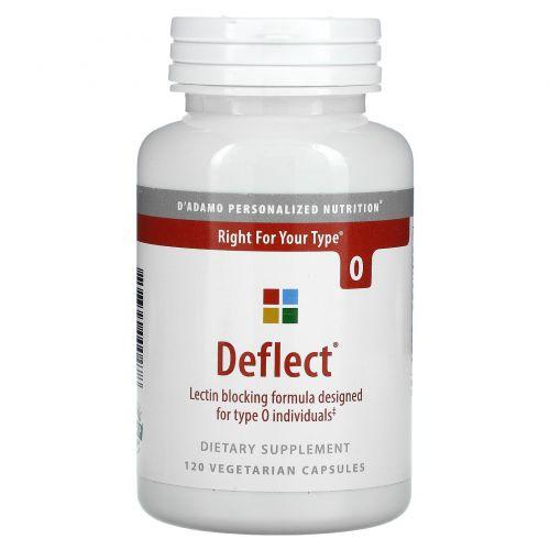 D'adamo, Deflect, формула, блокирующая лектин, для крови группы A, 120 вегетарианских капсул