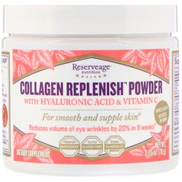 ReserveAge Nutrition, Collagen Replenish Powder with Hyaluronic Acid & Vitamin C, 2.75 oz (78 g)