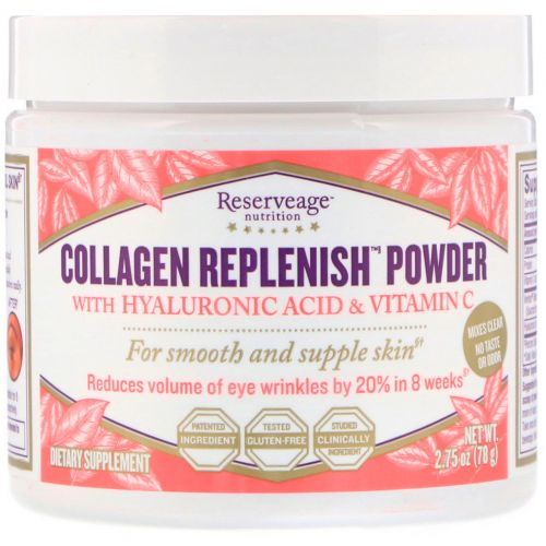 ReserveAge Nutrition, Collagen Replenish с гиалуроновой кислотой и витамином C, 2,75 унций (78 г)