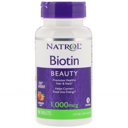 Natrol, Biotin, Fast Dissolve, Strawberry Flavor, 1000 mcg, 90 Tablets