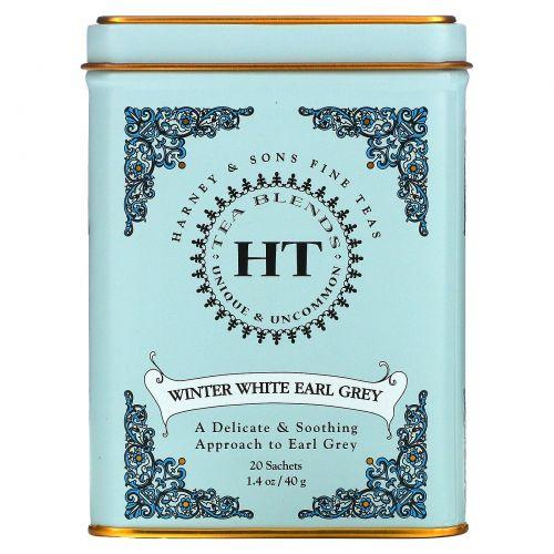 """Harney & Sons, Зимний белый чай """"Эрл Грей"""", 20 пакетиков, 0.9 унций (26 г)"""