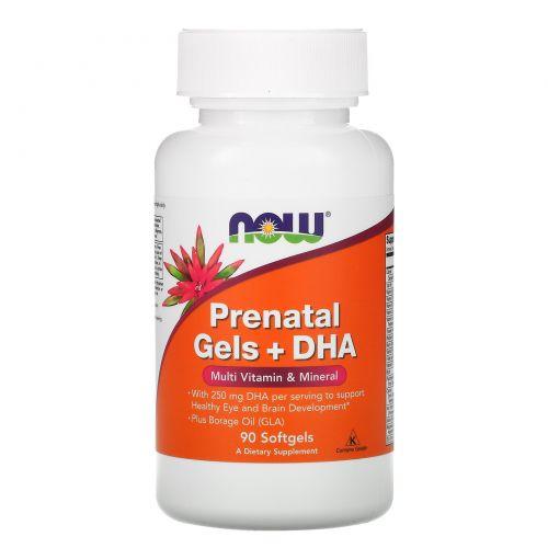 Now Foods, Пренатальный гель с ДГК, мультивитаминами и  минералами, 90 капсул