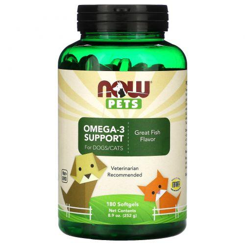Now Foods, Now Pets, Омега-3 для собак/кошек, прекрасный рыбный вкус, 180 желатиновых капсул