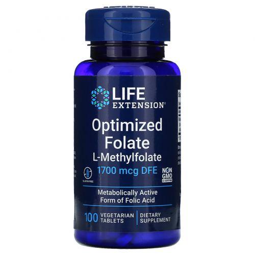 Life Extension, Оптимизированный фолат, 100 мкг, 100 таблеток в растительной оболочке