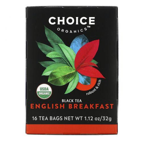 Choice Organic Teas, Органический, Английский завтрак, черный чай, 16 чайных пакетиков, 1,1 унции (32 г)