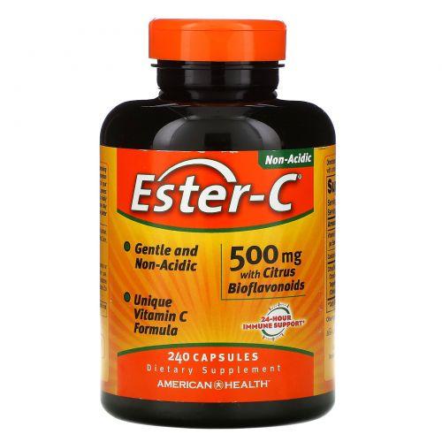 American Health, Ester-C, 500 мг с цитрусовыми биофлавоноидами, 240 капсул
