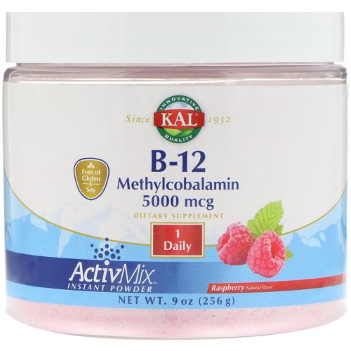 KAL, B-12 Methylcobalamin, Raspberry, 5000 mcg, 9 oz (256 g)