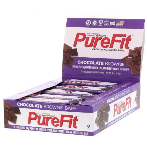 "Pure Fit Bars, Premium Nutrition Bars, ""Chocolate Brownie"" Батончики, 15 штук по 2 унции (57 г) каждая"