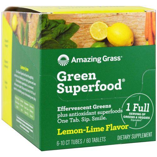 Amazing Grass, Зеленый суперпродукт, шипучая зелень, аромат лайма и лимона, 6 тюбиков, по 10 каждый