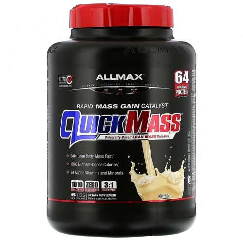 ALLMAX Nutrition, QuickMass, Weight Gainer, Rapid Mass Gain Catalyst, Vanilla, 6 lbs (2.72 kg)