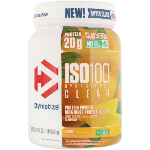 Dymatize Nutrition, ISO100 Hydrolyzed Clear, 100% Whey Protein Isolate, Mango, 1.1 lb (500 g)