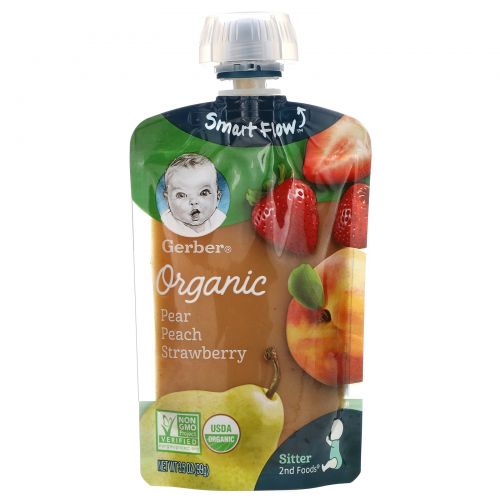 Gerber, 2nd Foods, органическое  детское питание, груша, персик и клубника, 3,5 унции (99 г)