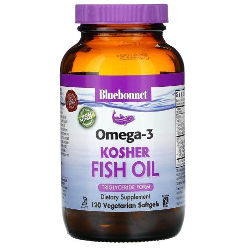 Bluebonnet Nutrition, Кошерный рыбий жир, натуральный Омега-3, 120 вегетарианских капсул
